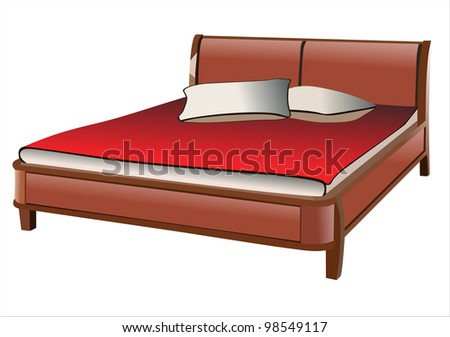 Bed. - stock photo
