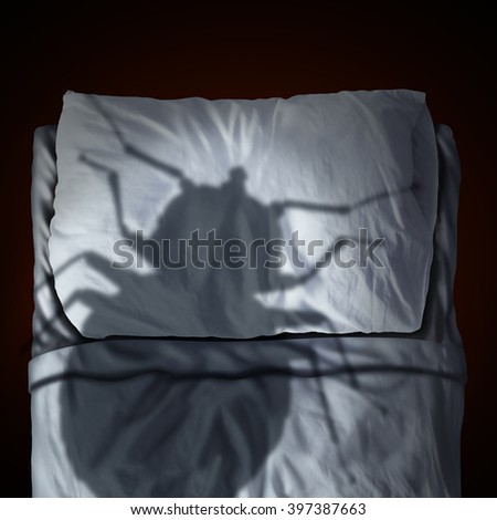 Bed bug fear or bedbug worry concept as a cast shadow of a a parasitic insect pest resting on a pillow and sheets as a symbol and metaphor for the anxiety as a 3D illustration. - stock photo