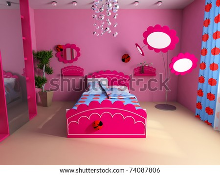 Bed in a pink children's room - stock photo
