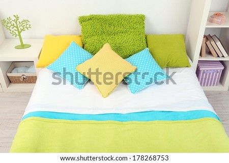 Bed in room top view close-up - stock photo