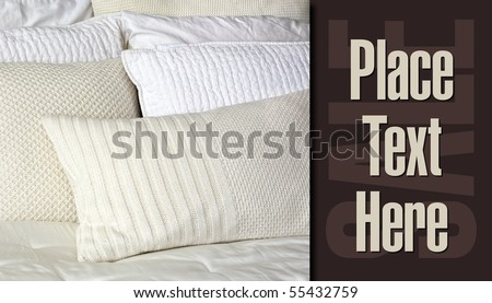 Bed Pillows Retail sample card art - stock photo