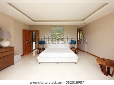 Bed room interior design - stock photo