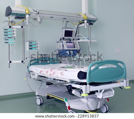 BED with modern ICU EQUIPMENT - stock photo