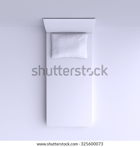 Bed with pillow in the corner room, 3d illustration. Top view. - stock photo
