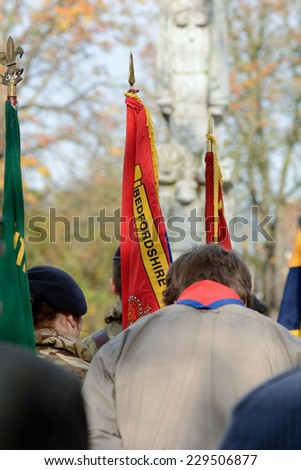 BEDFORD, ENGLAND  NOVEMBER 2014: Remembrance Day Parade - Soldiers with Salvation Army band playing music, shown on 9 November 2014 in Bedford - stock photo