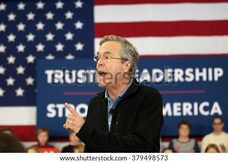 BEDFORD, NH - FEBRUARY 6: Former Governor Jeb Bush makes a point during a campaign speech on February 6, 2016 in Bedford, NH. The Presidential Candidate suspended his campaign on February 20, 2016.  - stock photo