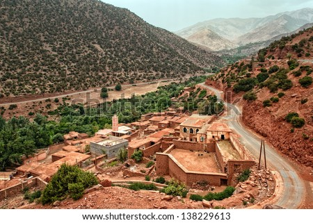 Bedouin village in Atlas Mountains, Morocco - stock photo