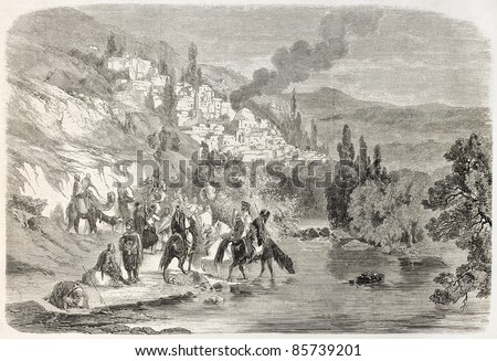 Bedouins, Druzes and Mutualis attacking Zahle, Lebanon. Created by Laurens after Rogier, published on L'Illustration, Journal Universel, Paris, 1860 - stock photo