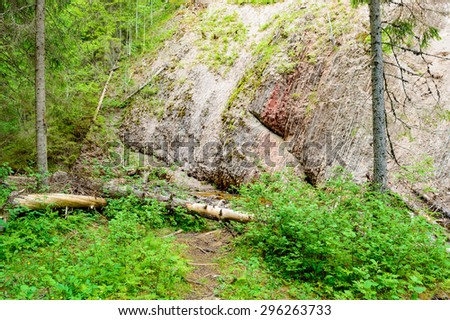 Bedrock at Styggforsen in Dalarns, Sweden. An asteroid impact 377 mil years ago tossed the sedimentary rock to its side and placed it vertical. - stock photo