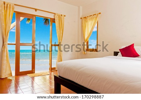 Bedroom at clean beach in Thailand - stock photo
