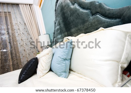 Bedroom in a modern house - home interiors. - stock photo