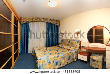 bedroom in hotel, panorama - stock photo