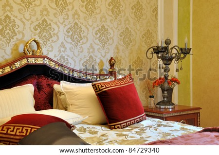Bedroom in luxuriant and exquisite style - stock photo