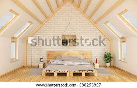 Bedroom in the attic with pallet bed and wooden crate on brick wall -3D Rendering - stock photo