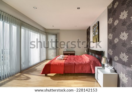 Bedroom in the modern villa with sea view - stock photo