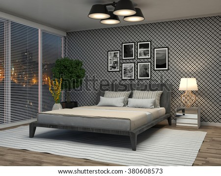 Bedroom interior. 3d illustration - stock photo