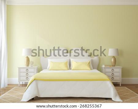 Bedroom interior. 3d render. - stock photo
