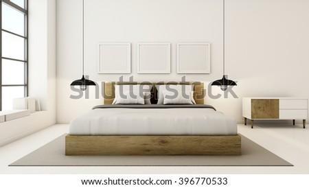 Bedroom interior design modern & loft - 3D render - stock photo