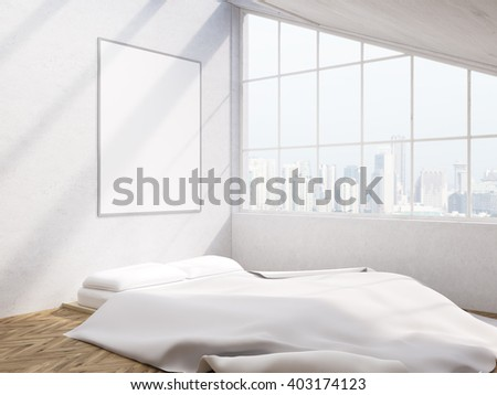 Bedroom interior design with blank picture frame and Singapore city view. Mock up, 3D Rendering - stock photo