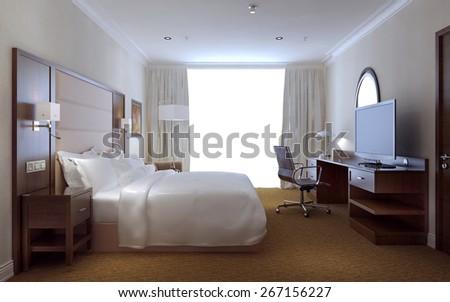 Bedroom modern style, 3d render - stock photo