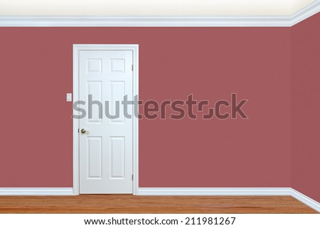 Bedroom wall and corner with door, baseboard and crown molding with room for text - stock photo