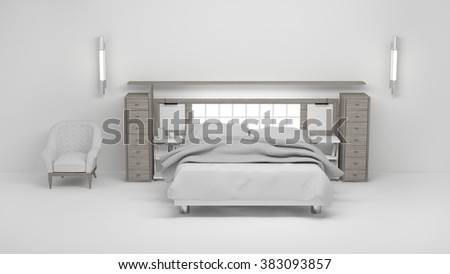 Bedroom white 3d rendering Non brand,sketches.All completely new design  - stock photo