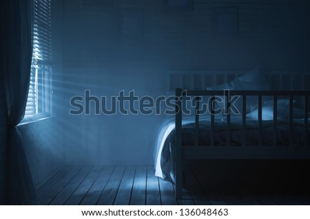 Bedroom with moonlight and smoke - stock photo
