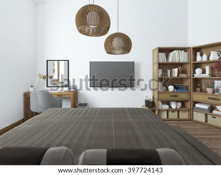 Bedroom with TV desk and shelves for books. Bedroom in modern style with a view of the TV. 3D render. - stock photo