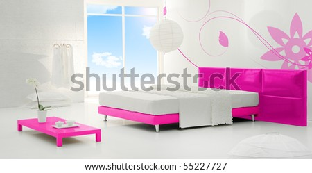 bedroom with view - stock photo