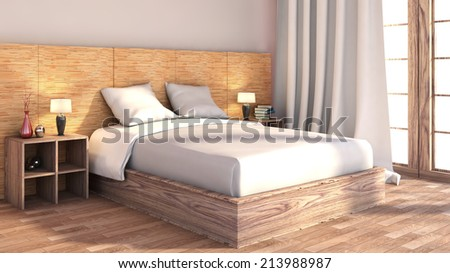 bedroom with wood trim - stock photo