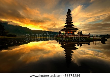 Bedugul is a mountain town in Bali, Indonesia, located in the center-north region of the island near lake Bratan on the road between Singaraja and Denpasar. - stock photo