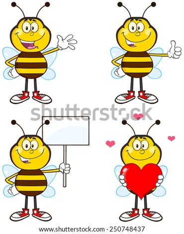 Bee Cartoon Mascot Character Different Interactive Poses 1. Raster Collection Set Isolated On White - stock photo