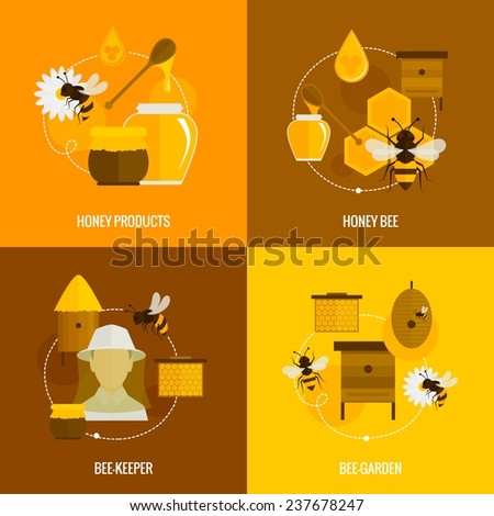 Bee honey icons flat set with products bee-keeper garden isolated  illustration - stock photo