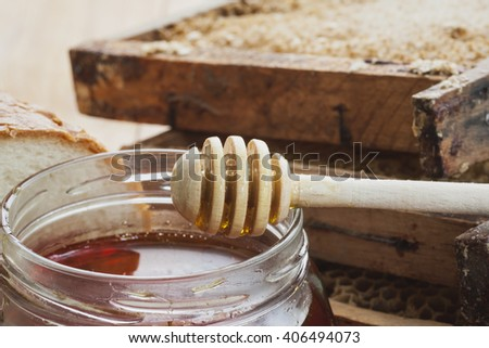 Bee honey is delicious, healthy and therapeutic product - stock photo