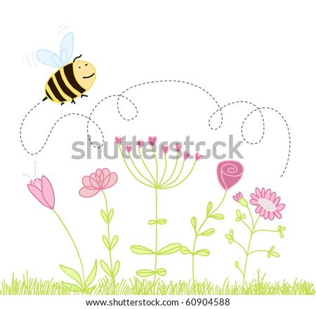 bee over the flowers.raster - stock photo