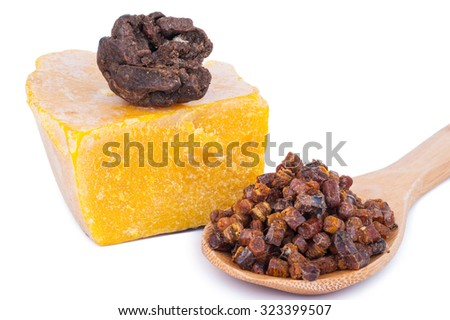 Bee pollen and propolis wax - stock photo