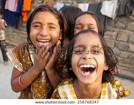 BEED, MAHARASHTRA, INDIA - March 23, 2012: unidentified children in rural village Salunkwadi - stock photo