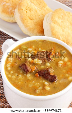 Beef and barley soup - stock photo