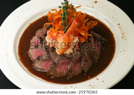 Beef and Lobster dish. - stock photo