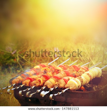 Beef and pork barbecue or kebab on the metal sticks  - stock photo
