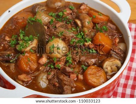 Beef bourguignon, classic French stew - stock photo