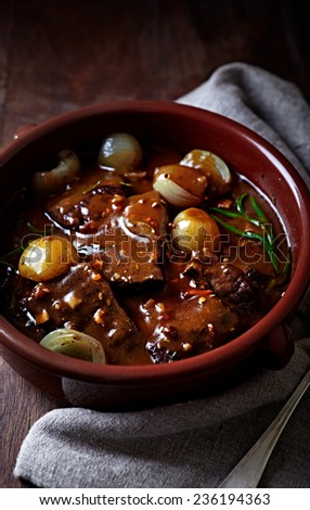 Beef braised in red wine sauce  - stock photo