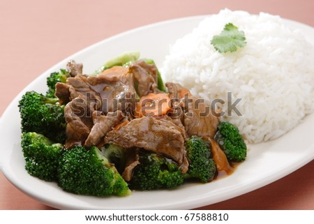 Beef Broccoli with Steam Rice - stock photo