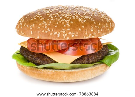 Beef burger isolated over white background - stock photo