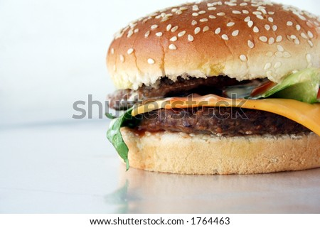 beef burger sandwich with cheese - stock photo
