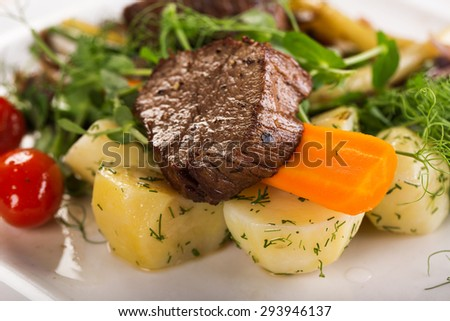 beef cheeks with vegetables - stock photo