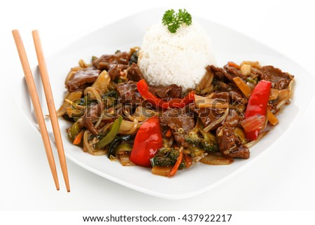 beef chop suey - stock photo