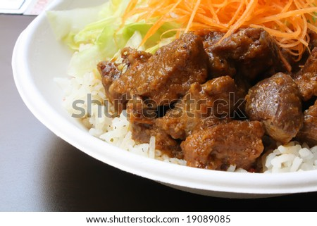 Beef Herb Stew Brisket With Rice and Vegetables - stock photo