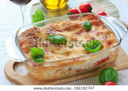Beef lasagna in the casserole dish - stock photo