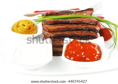 beef meat served with spices and seasoning - stock photo